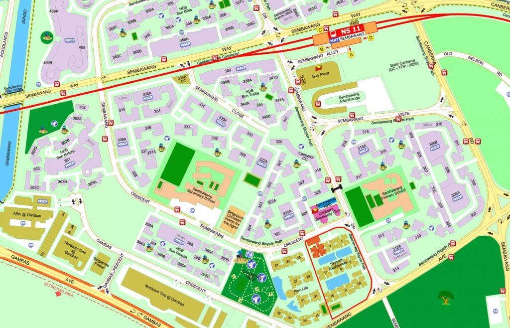 Skypark Residences EC Street Directory Map