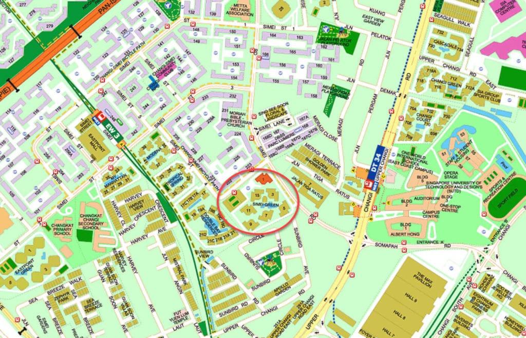Simei Green Condominium EC Street Directory Map