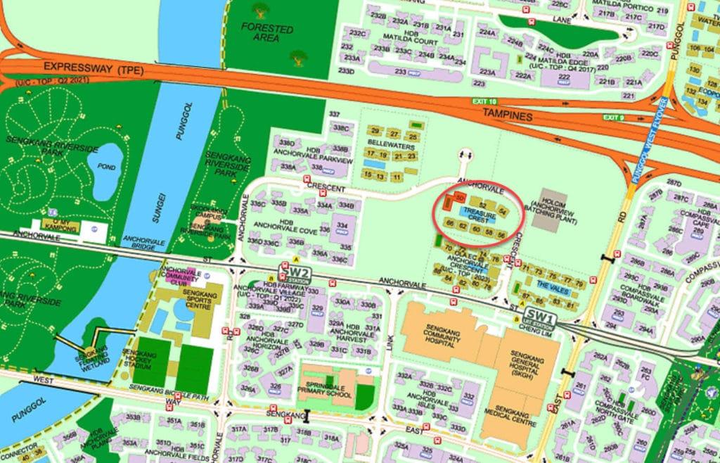 Treasure Crest EC Street Directory Map