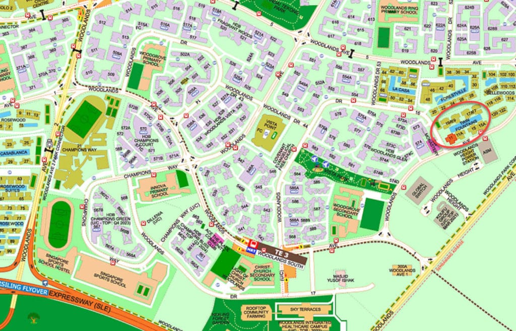 Twin Fountains EC Street Directory Map