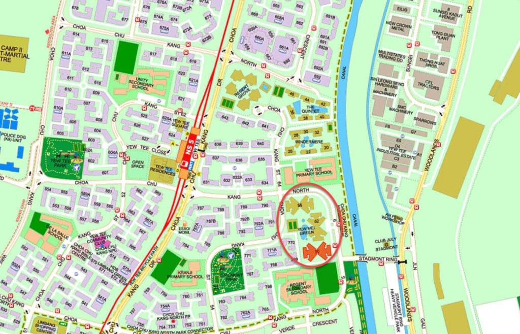 Yew Mei Green EC Street Directory Map