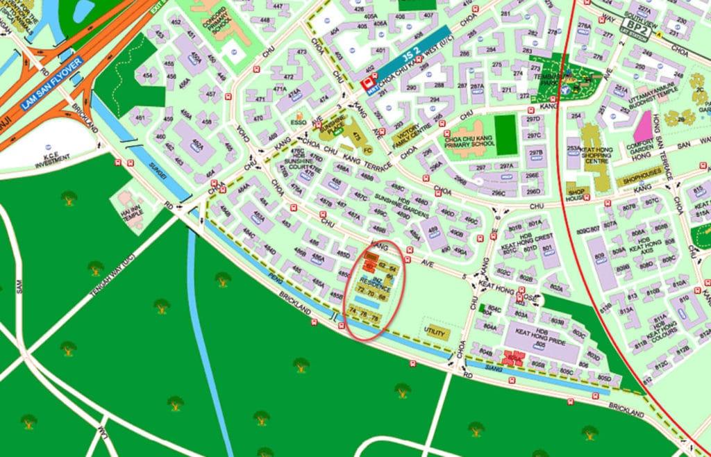 iNz Residence EC Street Directory Map